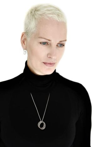 Inger Moss models Annika Rutlin's sterling silver United Collection