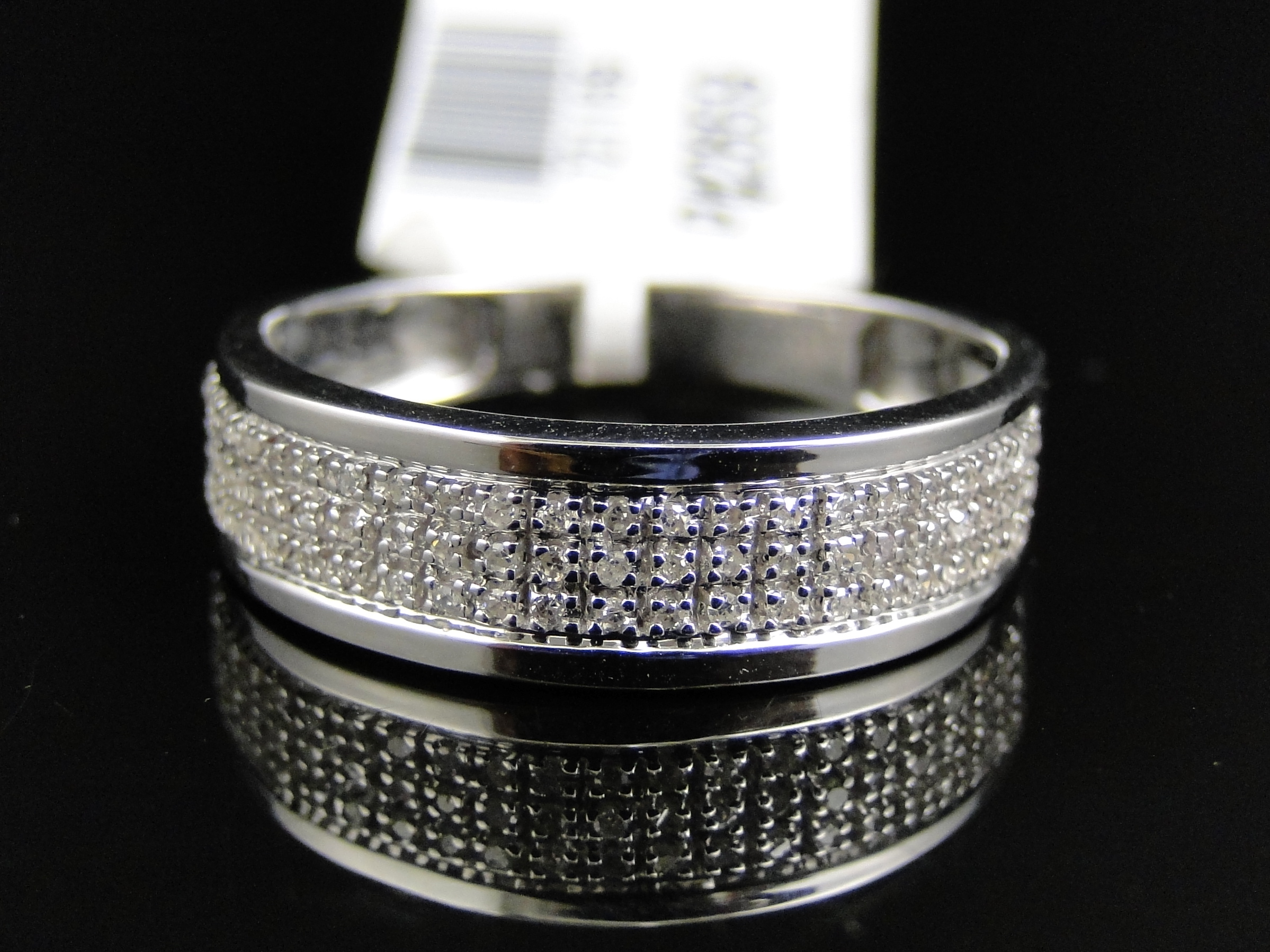 wedding rings for sale Mens 10k White Gold Diamond Pave 5 MM Wedding Engagement Band Ring 25 Ct