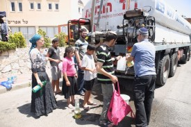 Water being delivered in Kedumim in the Samarian hills due to major shortages