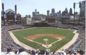 Comerica Park, home of the Detroit Tigers. Downtown Detroit is making a comeback, and Tigers fans are hoping Mets shortstop Jose Reyes will sign with Detroit as a free agent.