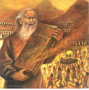 Moses and the Golden Calf (2010), oil on canvas, 30x30 by Brian Shapiro