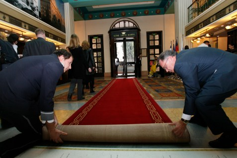 Rolling out the red carpet for US President George W. Bush, 2008