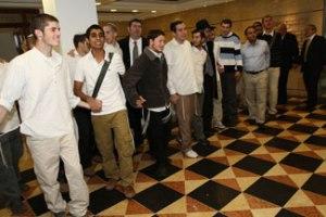 Students of Yeshivat Shavei Chevron. Rabbi Hershel Billet is at the far right.