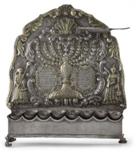 German Parcel-Gilt Silver Hanukah Lamp by George Kahlert, the Younger, Breslau 1760 Courtesy Sotheby's New York Lot 12
