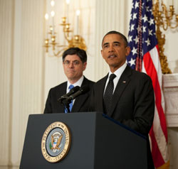 President Obama with Jack Lew at his side, announces Lew's appointment as White House chief of staff.