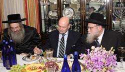 L-R: Rabbi Sholom Eliezer Teitelbaum, Hon. Fernando Villalonga, and Rabbi Gershon Tannenbaum.