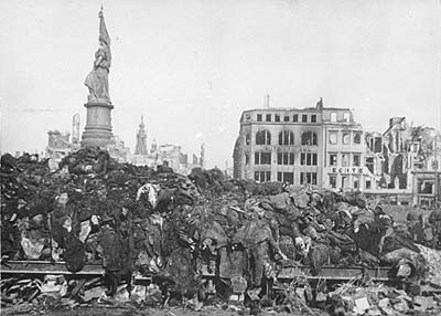 Corpses littered the streets of Dresden after the allies' air raids of February 13 and 14, 1945.