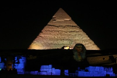 A view of the Pyramids Sound and Light Show in Giza, Cairo, Egypt.