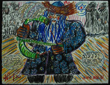 Lag B'Omer; mixed media collage by Nathan Hilu. Courtesy Herman Lowenhar