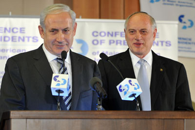 Prime Minister Netanyahu with Presidents Conference president Malcolm Hoenlein.