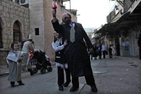 Religious Jews Celebrating Purim