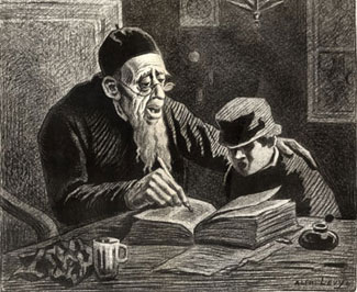 Alphonse Lévy (1843-1918). Rabbi and Student Studying the Weekly Torah Portion.