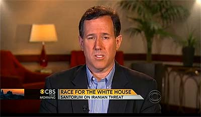 "Republican presidential candidate Rick Santorum appearing on ""CBS This Morning."""
