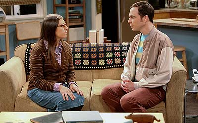 Mayim Bialik with Jim Parsons, as Amy and Sheldon in The Big Bang Theory (2010).