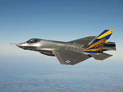 The U.S. Navy variant of the F-35 Joint Strike Fighter aircraft, conducts a test flight over the Chesapeake Bay.