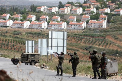 Last May, Israeli forces pushed back Palestinian protesters outside the settlement of Hlamish in the Benjamin region.