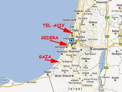 A map of Israel showing Gaza, Gedera and Tel-Aviv