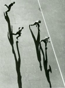 Playing Football (1939) Gelatin silver print by Harold Corsini. Courtesy The Jewish Museum