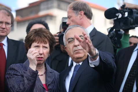 Palestinian PM Salam Fayyad and EU Foreign Affairs Chief Catherine Ashton