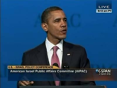 President Barack Obama speaking at the 2012 AIPAC conference, Sunday.