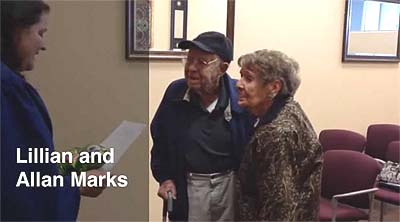 Allan Marks, 97, and Lillian Marks, 95, tie the knot