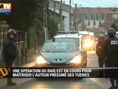Police siege in Toulouse this morning.