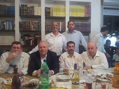 Sitting in front, left to right: Ketzele, Orlev, Orbach, Slomiansky. Back: Aaron Attias and Tzvi Seltzer, a Lod community activist.