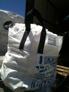 A sack of snow collected for the Metullah mikvah