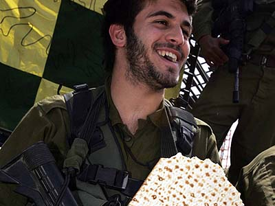 Israeli soldier of the Golani brigade with favorite Passover carbs.