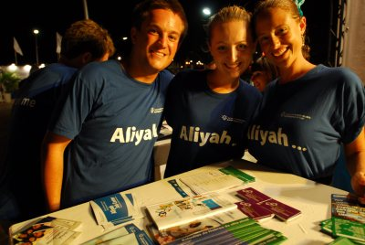 Jewish Agency for Israel volunteers at an aliyah event
