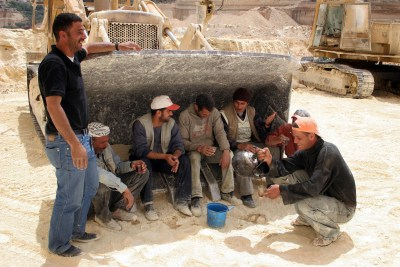 Palestinian laborers at a quarry in Judea and Samaria