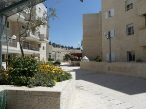 Between the buildings of Maale HaZeitim there is a courtyard which is detached from the street. Here children and residents are secure. But the back of the neighborhood is vulnerable to attack.