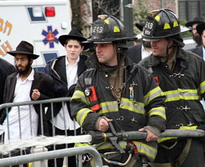 Burning chametz with the NYPD.