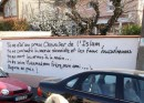 """Graffiti praising Mohammed Merah on the wall of a French house: """"You were a valiant Knight of Islam! You fought the shit zionist and the false muslims. You died guns in hand... I salute you Mohamed my brother, my friend... Rest in peace !"""""""