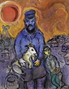 Marc Chagall. L'homme à la chèvre. 1950. Gouache, India ink and pastel on paper. 62.5 x 48.5 cm.