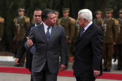 King Abdullah II of Jordan meets with PA Chairman Mahmoud Abbas in 2012.