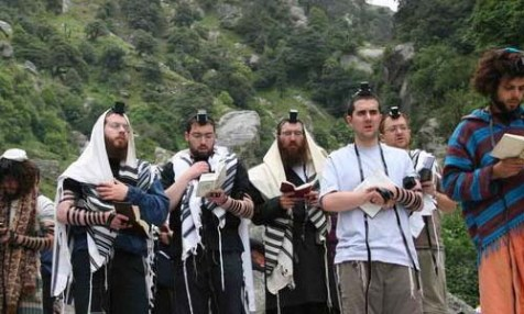 Morning prayer during a trip to the Himalayas, organized by Chabad of Dharamsala, India. Rabbi Hanan Herbst was detained for interrogation at Ben Gurion upon returning from India.