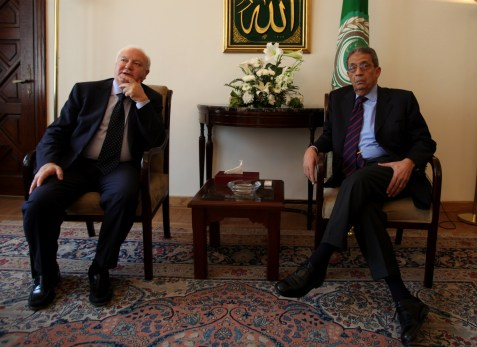 Amr Moussa meeting with then-Spanish Foreign Minister Miguel Angel Moratinos in his former capacity as Secretary-General of the Arab League