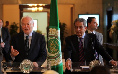Presidential candidate Amr Musa meeting with Spanish Foreign Minister Miguel Angel Moratinos while serving as Secretary General of the Arab League.