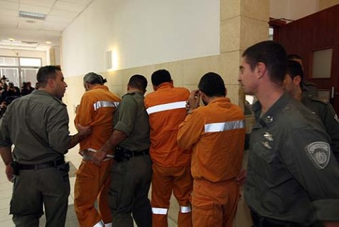 Arab terrorists who were picked up by the Israel Security Agency (Shin Bet) arrive at the Jerusalem District Court (Archive 2012).