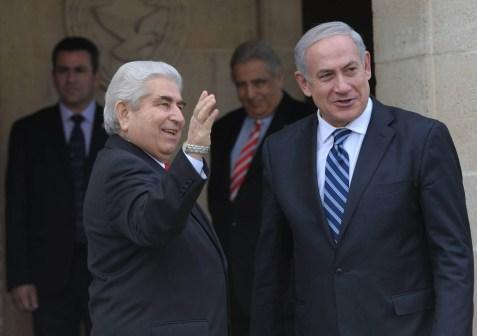 Cypriot President Dimitris Christofias welcomes Israeli Prime Minister Benjamin Netanyahu to Cyprus