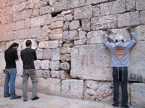 This section of the retaining wall surrounding the Temple Mount near the Wailing Wall was the site of an altercation between Jewish students and an Arab on Shavuot.