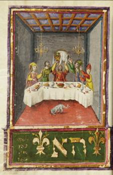 """Mahzor; """"Lifting Seder Plate"""" illuminated manuscript (ca. 1490s)."""