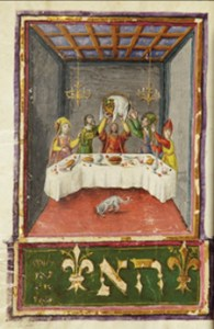 "Mahzor; ""Lifting Seder Plate"" illuminated manuscript (ca. 1490s). Courtesy Christie's Images Ltd, 2012"
