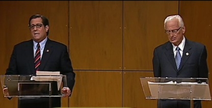 Steve Rothman (L) debates Bill Pascrell (R).