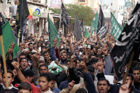 Palestinians demonstrating