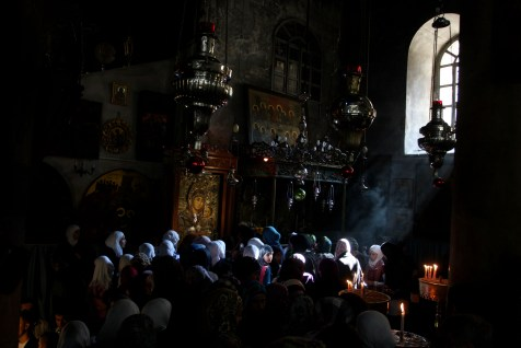 Christian pilgrims visit the Church of the Nativity