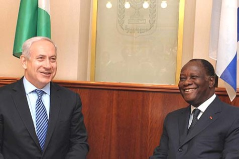 Israel&#039;s Prime Minister Benjamin Netanyahu (L) met with Ivory Coast President Alassane Ouattara in Jerusalem.
