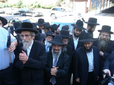 Roshei yeshiva waiting at Rabbi Belsky's home.