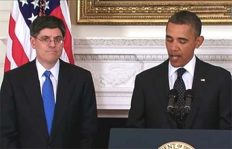 President Barack Obama with his new White House Chief of Staff Jacob Lew, an Orthodox Jew.